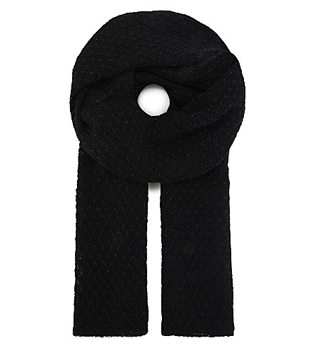 SANDRO Metallic knitted scarf (Black