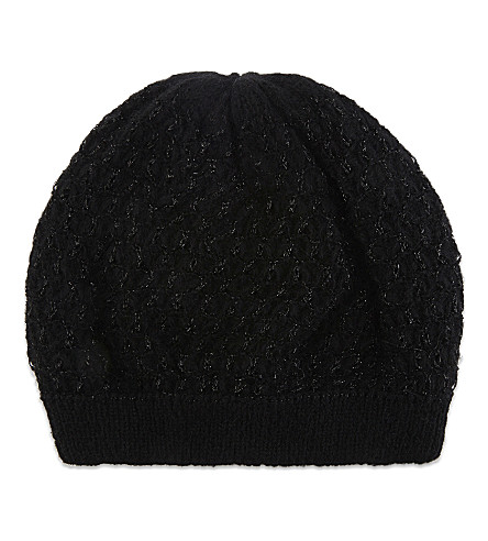SANDRO Metallic knitted beanie hat (Black