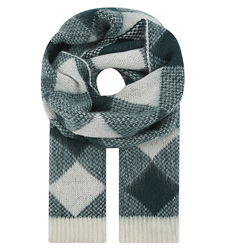 SANDRO Diamond check knitted scarf (Forest+green