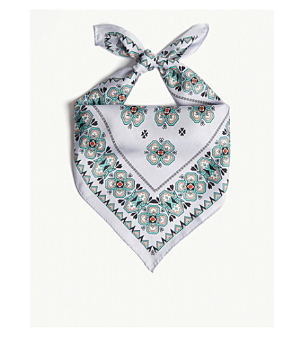 SANDRO Geometric print silk scarf (Blue