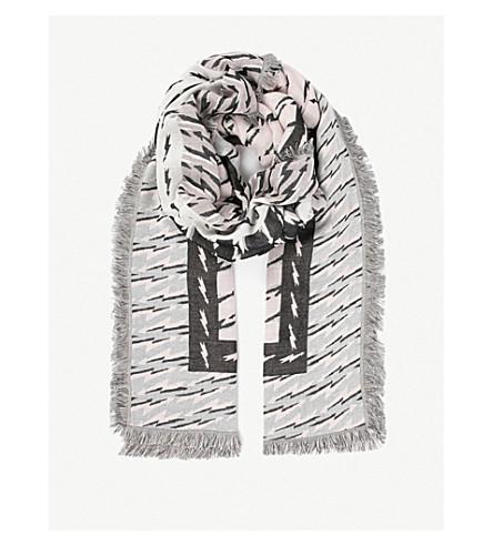 SANDRO Eclair lightning bolt cotton foulard (Black