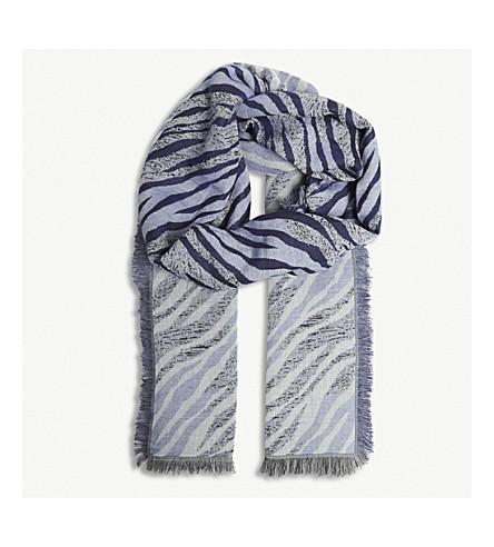 SANDRO Tiger stripe cotton foulard (Blue
