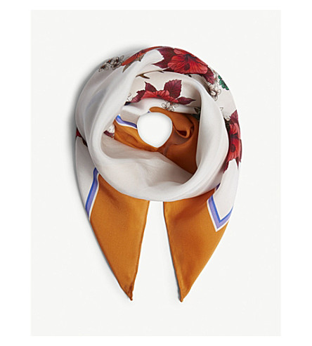 SANDRO Floral-print silk scarf (Orange