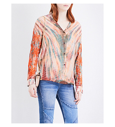 SANDRO Tie-dye silk shirt (Multi-color