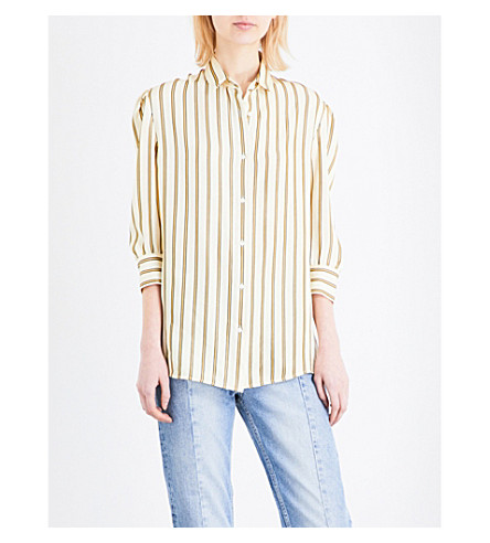 SANDRO Striped crepe shirt (Vanilla