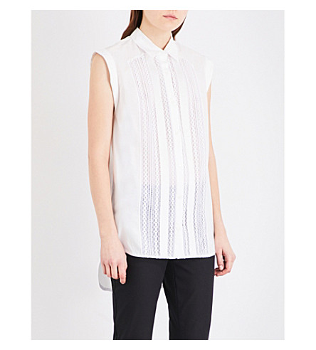 SANDRO Lace-trim woven shirt (White