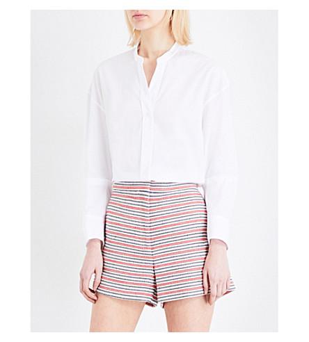 SANDRO Mandarin collar cotton-poplin shirt (White