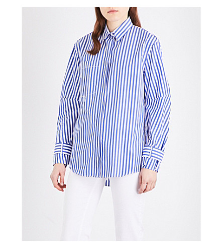 SANDRO Striped cotton-poplin shirt (Blue