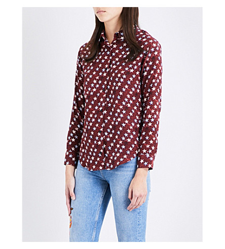 SANDRO Star-print silk shirt (Multi-color