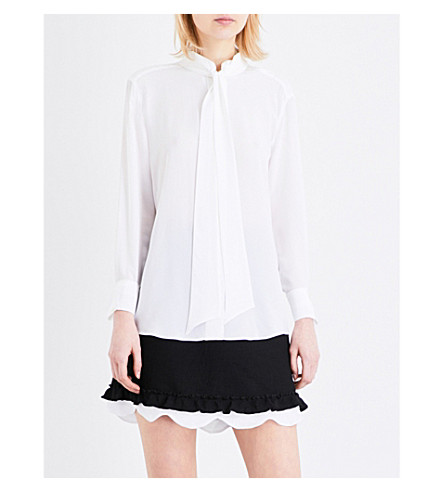 SANDRO Pussy bow silk blouse (Blanc