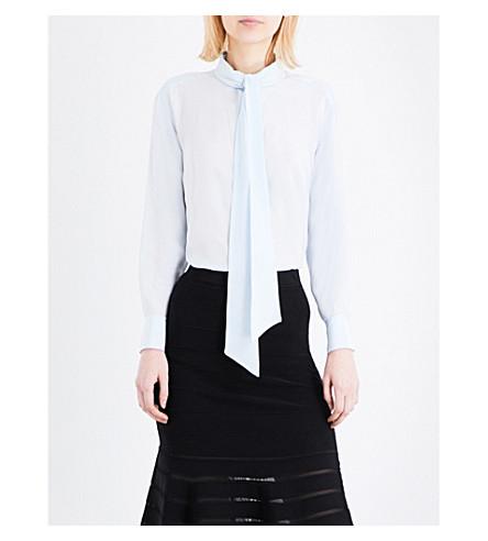 SANDRO Pussybow silk blouse (Sky+blue