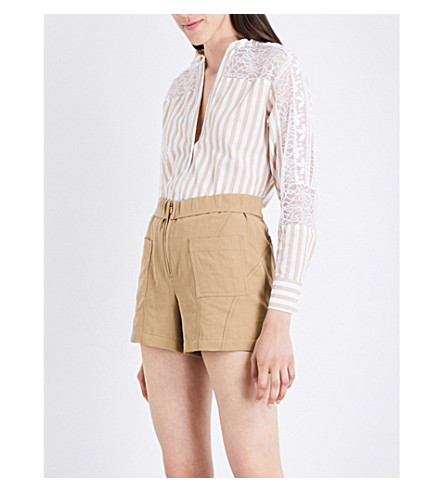 SANDRO Lace-insert cotton shirt (Beige