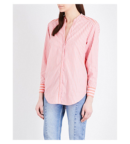 SANDRO Striped cotton-poplin and chiffon panel shirt (Coral