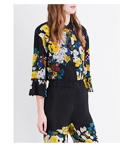 SANDRO Floral-print silk-crepe shirt (Black