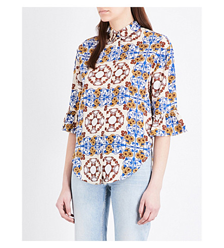 SANDRO Floral-print silk-crepe de chine shirt (Multi-color