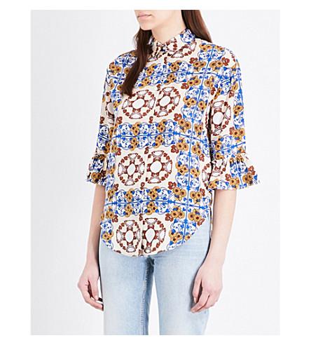 SANDRO Floral-print silk-crepe de chine shirt (Multi-color