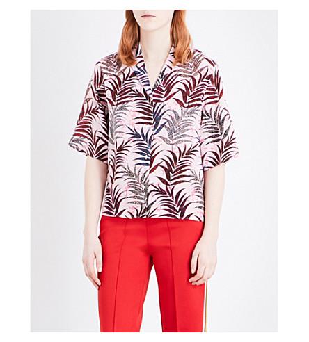 SANDRO Palm-print silk blouse (Pink