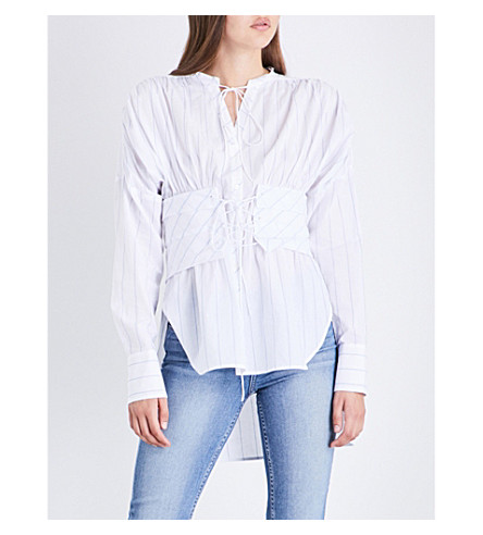 SANDRO Corset-detail striped cotton shirt (White