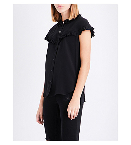 SANDRO Frilled-trim silk shirt (Black