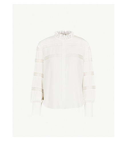 SANDRO Ruffled high neck silk and floral-lace shirt (Ecru