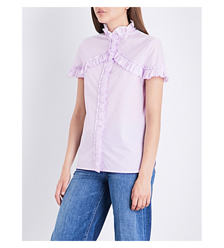SANDRO Frilled-trim cotton-poplin shirt (Mauve