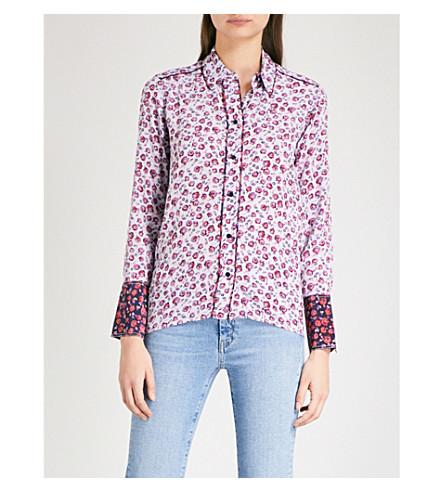 SANDRO Floral-print silk shirt (Mauve