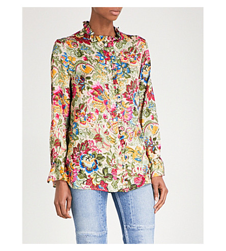 SANDRO Floral satin shirt (Multi-color