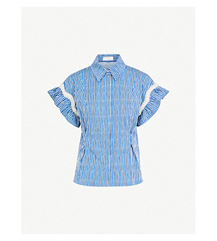 SANDRO Embellished striped stretch-cotton shirt (Blue