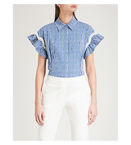 SANDRO Embellished striped stretch-cotton shirt (Blue