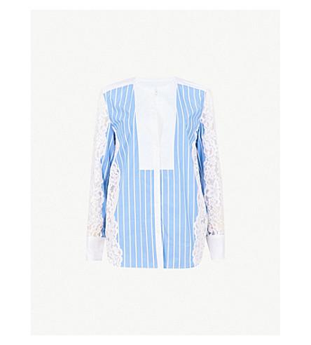 SANDRO Stripe and lace cotton shirt (Bleu+ciel