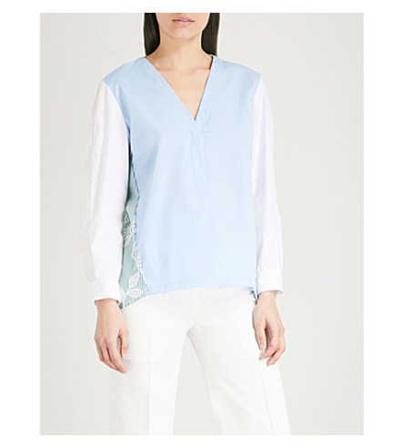 SANDRO Stripe and cutwork panel cotton top (Bleu+ciel