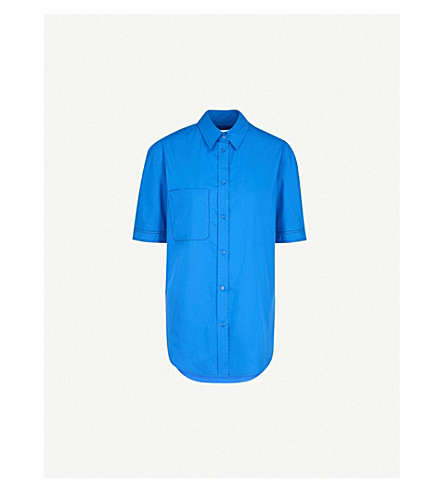 SANDRO Contrast-stitch cotton shirt (Bleu