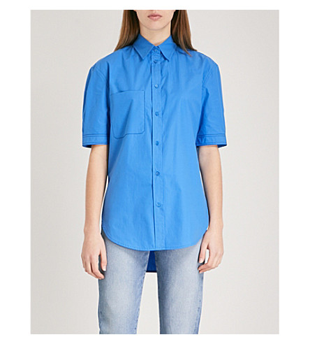 SANDRO Contrast-stitch cotton shirt (Bleu
