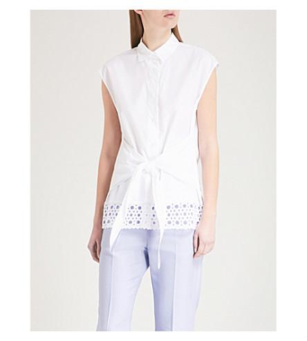 SANDRO Embroidered-panel cotton-poplin shirt (Cream