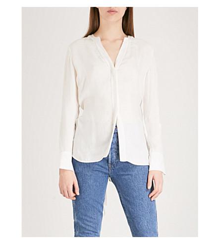 SANDRO Cutout drawstring crepe blouse (Cream