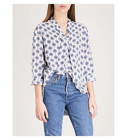 SANDRO Tie-neck oversized printed silk shirt (White
