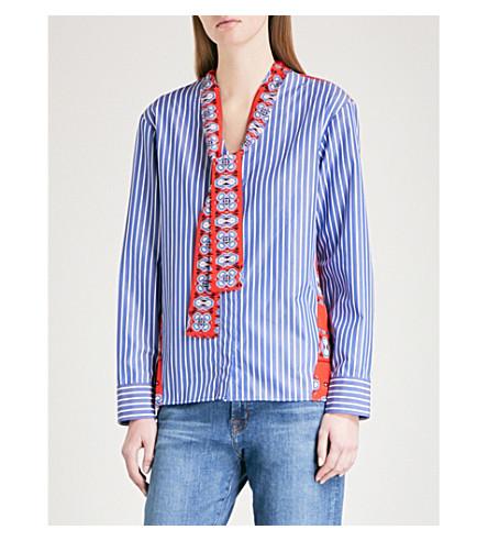SANDRO Neck-tie striped cotton and silk shirt (Bleu