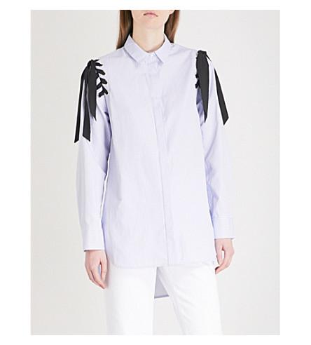 SANDRO Lace detail cotton shirt (Bleu+ciel