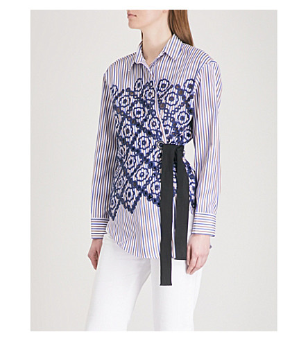 SANDRO Embroidered striped cotton-blend wrap shirt (Marine