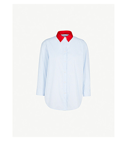 SANDRO Contrast-collar striped cotton shirt (Blue