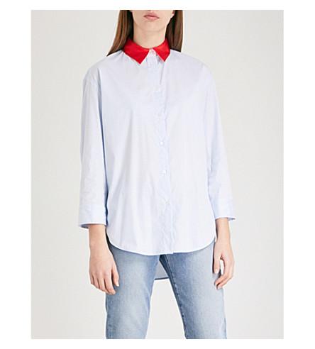 SANDRO Contrast-collar striped cotton shirt (Blue