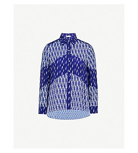SANDRO Lightning-print crepe shirt (Blue