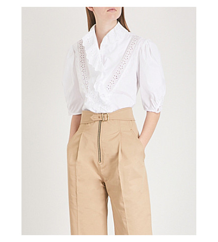 SANDRO Lace-embroidered ruffled cotton shirt (Blanc