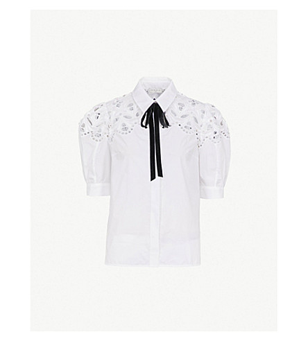 SANDRO Broderie-anglaise 棉衬衫 (白色