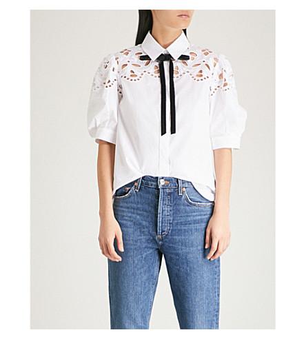 SANDRO Broderie-anglaise cotton shirt (White