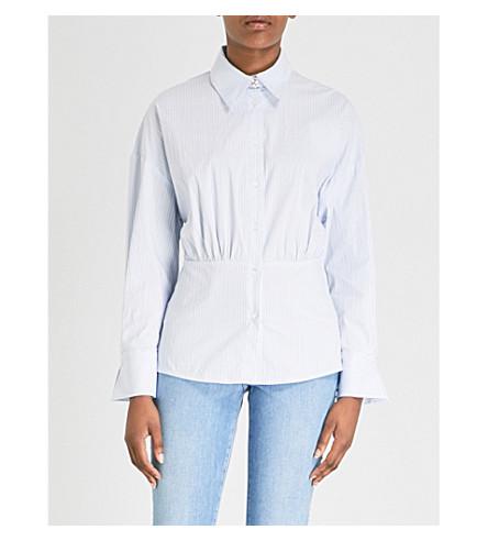 SANDRO 收集条纹棉混纺衬衫 (天 + 蓝