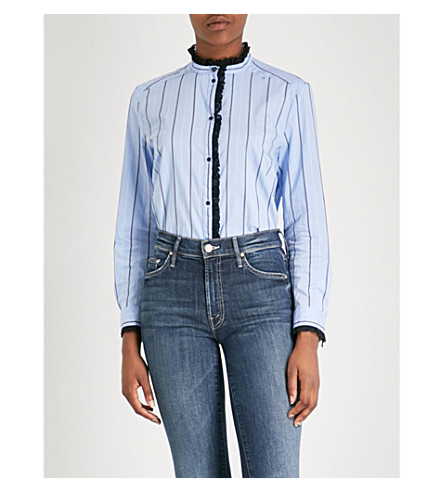 SANDRO Lace-trimmed striped cotton-blend shirt (Sky+blue