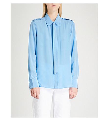 SANDRO Neck-tie silk-crepe shirt (Sky+blue