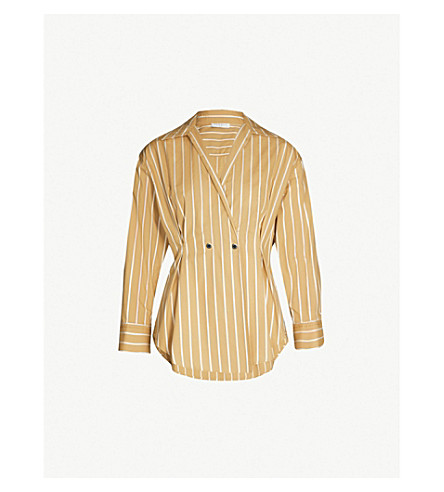 SANDRO Mathilde striped fit-and-flare cotton-twill shirt (Beige