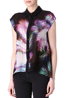 SANDRO Caraibes sheer printed shirt